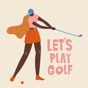 African american young girl hitting ball with golf club. Vector flat hand drawn illustration. Female golfer plays golf. Woman in sport. T-shirt print design. Let's play.
