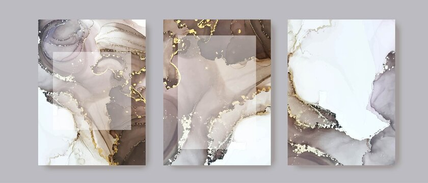 Modern card design. Hand painted marble texture. Gold, white, grey, nude colors brochure, flyer, invitation template. Wedding invitation style. Vector.