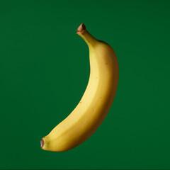 Fruit pop art yellow banana green color background art side lighting