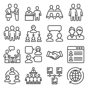 Business Cooperation Management Icons Set on White Background. Line Style Vector