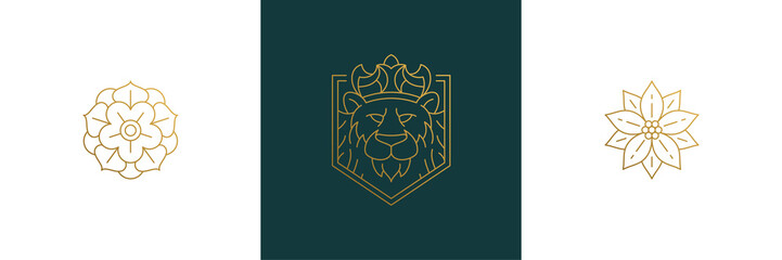 Vector line elegant decoration design elements set - lion head and flowers illustrations minimal linear style
