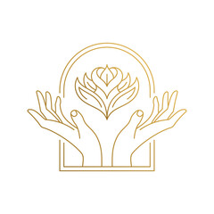 Outline emblem of hands with flower in window hand drawn with thin lines