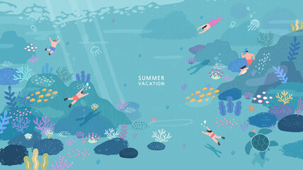 peoples diving under the ocean illustration. coral reef and fish on a blue sea background. Vector seascape  Wall mural