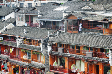 Awesome view of traditional Chinese black tile roofs, Fenghuang