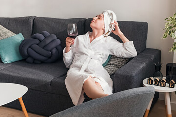 Young woman relaxing at home on weekend