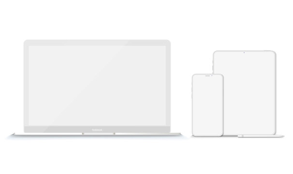 Set of modern clay devices mockups: laptops, tablet phone. Vector illustration