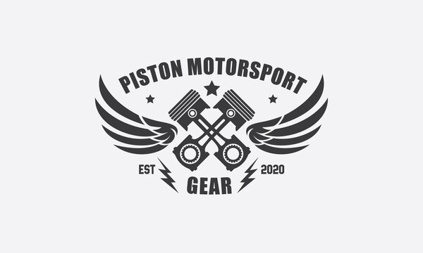 Vector Illustration of Piston Motorsport Gear with Lightning and Wings Logo Design Template