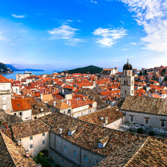 Croatia travel. Dubrovnik. view from city wall in historic old town center