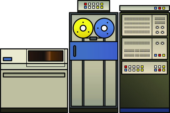 A retro mainframe computer setup with a processor cabinet, classic tape drives, and a fixed disk drive,