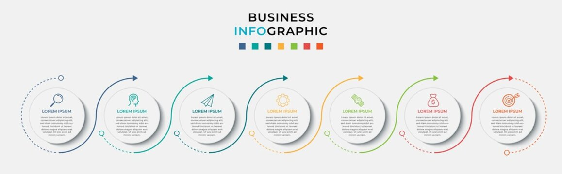 Business Infographic design template Vector with icons and 7 seven options or steps. Can be used for process diagram, presentations, workflow layout, banner, flow chart, info graph
