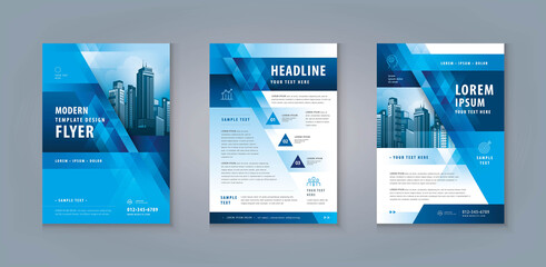 Business Leaflet Brochure Flyer Template Design Set. Corporate Flyer Template A4 Size