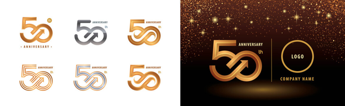 Set of 50th Anniversary logotype design, Fifty years anniversary celebration