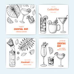 Cocktails hand drawn vector illustration. Alcoholic cocktails sketch set. Vertical banner collection. Design template for bar.