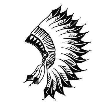 Native american indian headdress graphic illustration isolated on white. Hand drawn vector