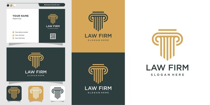Modern law firm logo and business card design. gold, firm, law, icon justice, business card, Premium Vector