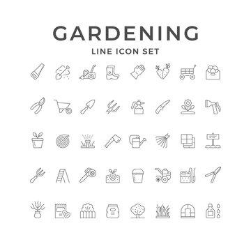 Set line icons of gardening