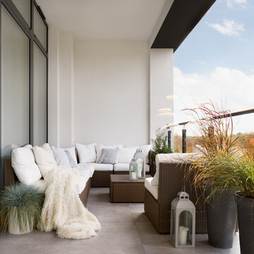 Balcony with rattan furniture