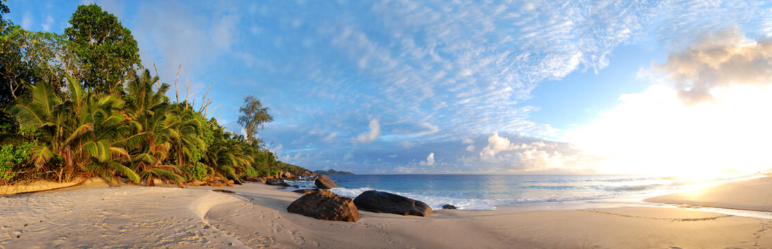 Seychelles beach like paradise with white sand and sunrise or sunset perfect travel and holiday location