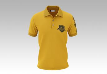 Men's Short Sleeve Polo Shirt Mockup, Front