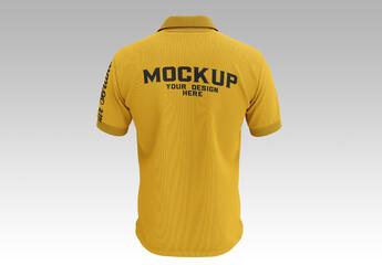 Men's Short Sleeve Polo Shirt Mockup, Back