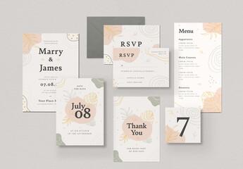 Organic Floral Wedding Invitation Set