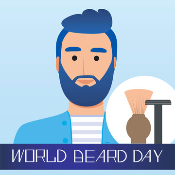 Character or hipster and World Beard Day Text, flat vector stock illustration as a card or greeting card