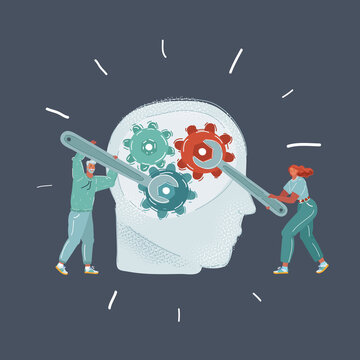 Vector illustration of Human head and people with wrench. Mental health. Man and woman try to fix someone mind.