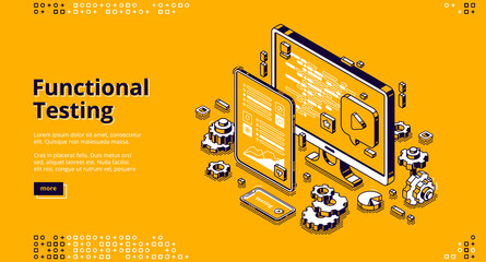 Software testing isometric landing page. Functional test, mobile application and website platform development, dashboard usability optimization for computer and tablet pc 3d vector line art web banner