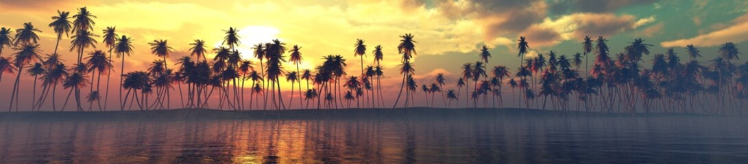 Palm trees over the water, a panorama of palm trees in a row at sunset by the sea, 3D rendering