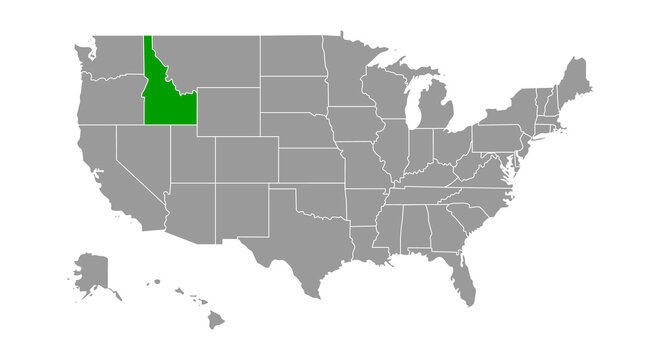 Vector Map of the United States Highlighting the State of Idaho; Illustrator 8