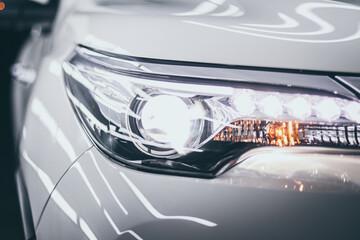 Illuminated Headlight Of Car - fototapety na wymiar