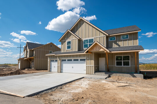 A new home being built in an American subdivision.