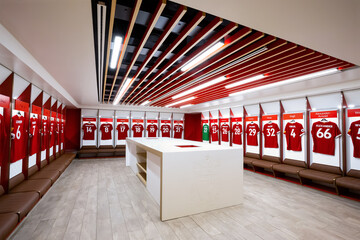 Liverpool, United Kingdom - May 17 2018: Player's jerseys hung in fornt of lockers in the changing room at Anfield stadium