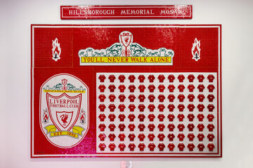 LIVERPOOL, UNITED KINGDOM - MAY 17 2018: Hills Borough memorial Mosaic at Liverpool Story Museum displays the name of the 96 victims who died in the Hillsborough disaster