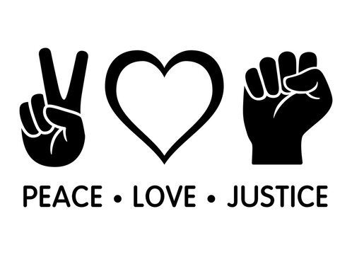 Peace Love Justice flat vector icon design for apps and print