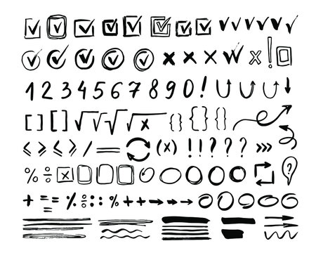 Hand drawn mark icon set isolated on white background. Doodle checkmark, arithmetic number and border element