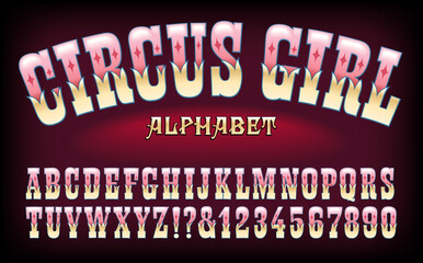 Circus Girl is an Ornate Alphabet Suggestive of Carnivals, Amusement Parks, and Old West Themes