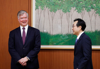 U.S. Deputy Secretary of State Stephen Biegun is greeted by his South Korean counterpart Lee Do-hoon during their meeting at the Foreign Ministry in Seoul