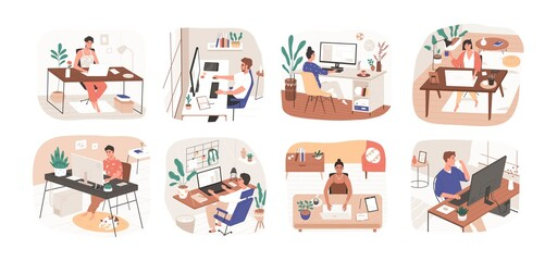 Fotobehang Hoogte schaal Set of freelance people working remotely vector flat illustration. Collection of man and woman use computer or laptop at comfortable workplace isolated on white. Self employed person at home office
