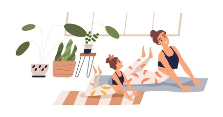 Photo sur Toile Les Textures Cheerful child and mother practicing yoga together at home vector flat illustration. Happy family doing stretching exercise on mat isolated on white. Joyful woman and girl during sports training