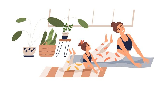 Cheerful child and mother practicing yoga together at home vector flat illustration. Happy family doing stretching exercise on mat isolated on white. Joyful woman and girl during sports training