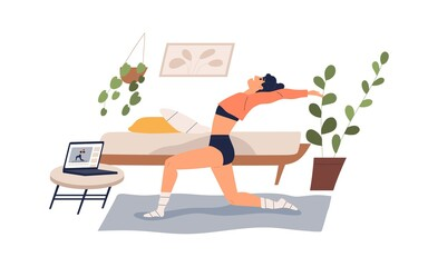 Flexible woman practicing yoga at home vector flat illustration. Yogi female watching online classes on laptop isolated on white. Girl doing exercise looking internet live stream video