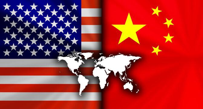 アメリカvs中国の対立する国旗経済背景イメージ