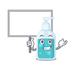 Wall Mural - Cartoon picture of hand sanitizer mascot design style carries a board