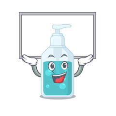 Wall Mural - Caricature character of hand sanitizer succeed lift up a board