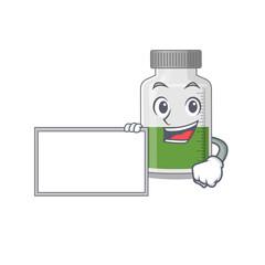 Wall Mural - Cartoon character design of vitamin syrup holding a board
