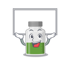 Wall Mural - Caricature character of vitamin syrup succeed lift up a board