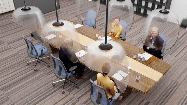 Teamwork in meeting Room with Social distancing 3D rendering