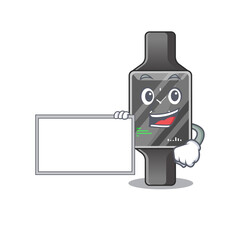 Wall Mural - Cartoon character style of smart watch holding a white board