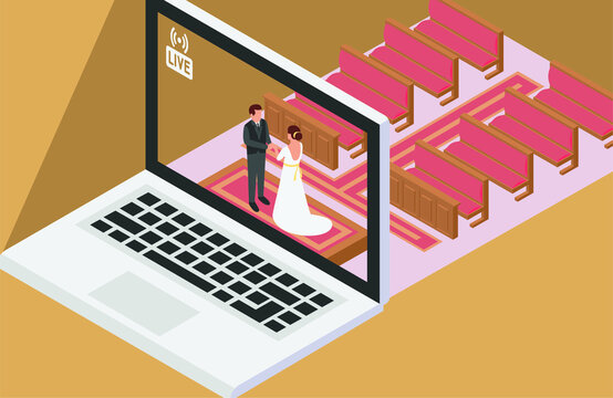 A couple having online wedding ceremony at church and show it live via online